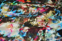 Silvery blue dark vivid waxy blurred colors, contrasts, waxy creative background. Abstract blurred waxy vivid white blue dark orange watercolor pink red green Stock Photo