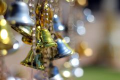 Bell silver and Bell gold Background Blur and Bokeh. Abstract blurry background of gold bell - Image. abstract background bell bells blink blur blurred blurry royalty free stock photo
