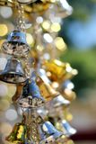 Bell silver and Bell gold Background Blur and Bokeh. Abstract blurry background of gold bell - Image. abstract background bell bells blink blur blurred blurry stock photography