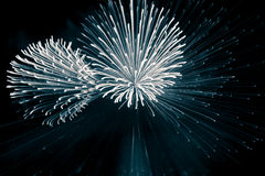 Abstract, blurry, bokeh-style colorful photo of fireworks in a blue tone above the river stock image