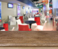 Abstract blurry restaurant background with presentation table Stock Photo