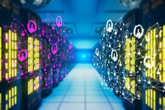 Internet concept. Abstract blurry server room with polygonal network. Internet concept. 3D Rendering Royalty Free Stock Images