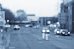 Abstract blurs on the road with cars in Manchester UK England. Royalty Free Stock Image
