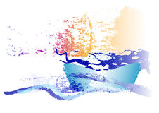Abstract boat in the  ocean watercolor design ,vector illustration. Abstract boat in the blue ocean ,watercolor design ,Vector illustration Royalty Free Stock Image