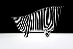 Abstract body of zebra. Abstract illustration of striped body of zebra with black and white background Stock Photo