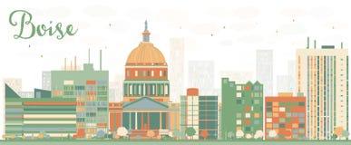 Abstract Boise Skyline met kleurengebouwen Royalty-vrije Stock Afbeeldingen