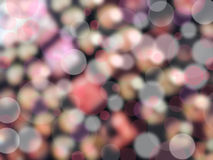 Abstract bokeh background. Abstract circular pink and white bokeh of defocused lights with dark background Stock Images