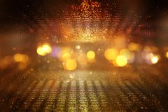 Abstract bokeh background of golden light burst made from lens motion. Abstract bokeh background of golden light burst made from lens motion stock illustration