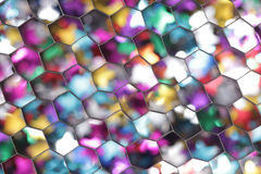 Abstract bokeh background photographed through a honeycomb grid diffuser closeup Royalty Free Stock Photo