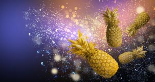 Abstract bokeh background with pineapple, neon royalty free illustration