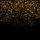 Abstract bokeh background, yellow blurred dust with sparkles. Abstract bokeh background, blurred lights. Yellow blurred dust on black with sparkles Stock Photos
