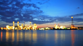 Abstract Bokeh of Bangchak Oil Refinery in Bangkok Stock Photography