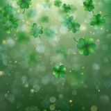 Abstract bokeh blur template with - trifolium clovers. EPS 10 vector. Abstract bokeh blur template with - trifolium clovers. Happy Saint Patrick s Day Stock Images