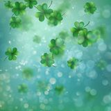 Abstract bokeh blur template with - trifolium clovers. EPS 10 vector. Abstract bokeh blur template with - trifolium clovers. Happy Saint Patrick s Day Royalty Free Stock Images