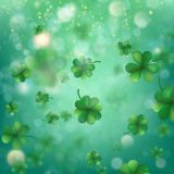 Abstract bokeh blur template with - trifolium clovers. EPS 10 vector. Abstract bokeh blur template with - trifolium clovers. Happy Saint Patrick s Day Stock Image