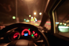 Abstract bokeh of car speed meter light dashboard with traffic Stock Photos