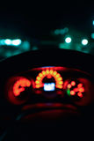 Abstract bokeh of car speed meter light dashboard with traffic Stock Photography