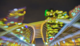 Abstract Bokeh cityscape of Bangkok central business background Stock Photography