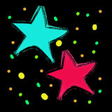 Abstract bokeh colorful  star on black background Stock Image