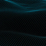 Abstract bokeh dots waves. Blue on black vector illustration