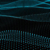 Abstract bokeh dots waves. Blue on black Royalty Free Stock Image