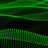 Abstract bokeh dots waves. Green on black Royalty Free Stock Photography