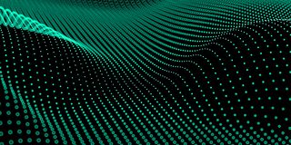 Abstract bokeh dots waves. Green on black stock illustration