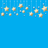 Abstract bokeh gold star on blue background Royalty Free Stock Photos