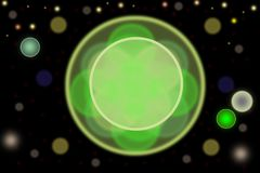Abstract bokeh with green circle in centre and a further glowing circles on black backround vector illustration