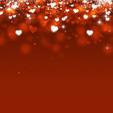 Abstract Bokeh Hearts. Abstract valentine magic falling hearts on red background stock illustration