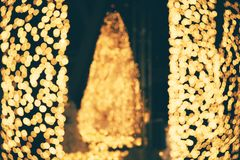 Abstract bokeh light for christmas night light holiday for background.  Stock Images