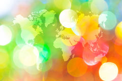 Abstract bokeh of light with world map Royalty Free Stock Photo