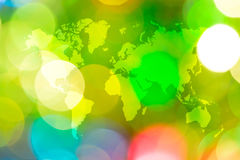 Abstract bokeh of light with world map Stock Image