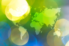 Abstract bokeh of light with world map Royalty Free Stock Photography