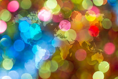 Abstract bokeh of light with world map Stock Photo
