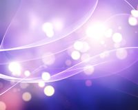 Abstract bokeh lights background with flowing lines. In shades of purple stock illustration