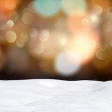 Abstract bokeh lights and snowdrift Royalty Free Stock Photo