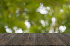 Abstract bokeh of nature with wood terrace Royalty Free Stock Photography