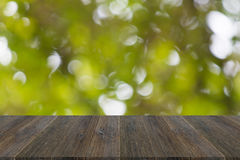 Abstract bokeh of nature with wood terrace Stock Images