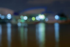 Abstract bokeh. Night riverside on harbor background Stock Images