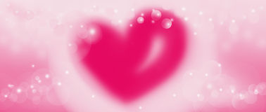 Abstract bokeh pink glitter lights background. Defocused backdrop and emotion love heart valentine or wedding. Painting illustration Royalty Free Stock Images