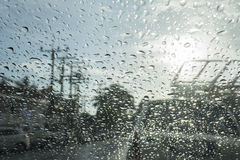 Abstract bokeh from raindrops on glass after rain Royalty Free Stock Photo