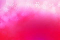 Abstract bokeh and snow flakes background, pink and white Stock Photos