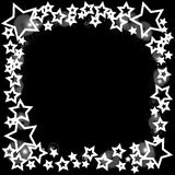 Abstract bokeh white star on black background Stock Photo