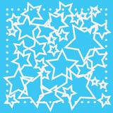 Abstract bokeh white star on blue background Stock Photos