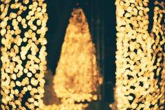 Abstract bokehlicht voor de lichte vakantie van de Kerstmisnacht voor achtergrond Stock Afbeeldingen