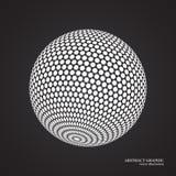 Abstract bol gestippeld gebied, 3d punteffect Witte zwarte kleur, Stock Foto