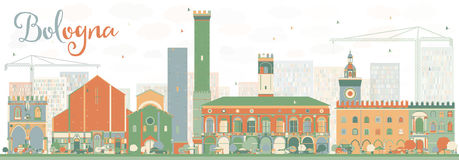 Abstract Bologna Skyline with Color Landmarks. Stock Images