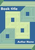 Abstract book cover with green stripped rectangles and squares on dark blue background, template for textbook, leaflet Royalty Free Stock Photos