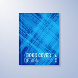 Abstract book design template. With blue brush strokes Stock Photos
